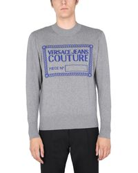 Versace Jeans Couture Cashmere Blend Crew Neck Jumper With Logo Box - Grey
