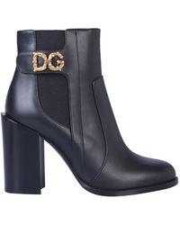 Dolce & Gabbana Stivaletto In Vitello Nappato Con Logo Dg - Nero