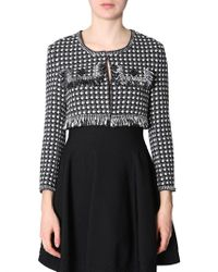 Boutique Moschino Short Jacket In Tweed With Fringes - Black