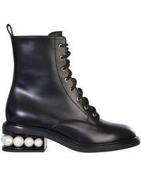 "Nicholas Kirkwood ""casati"" Leather Combat Boots - Black"