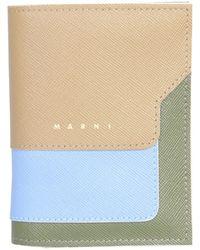 Marni Tricolored Bifold Saffiano Leather Wallet - Green