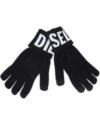 DIESEL K-screex-b Knitted Gloves With Logo - Black