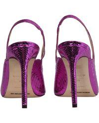 Giannico Leather Pump With Python Print - Purple