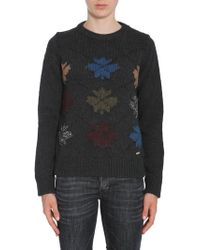 DSquared² Round Collar Jumper With Intarsia - Gray