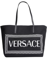Versace - Maxi Logo Printed Coated Canvas Tote Bag - Lyst