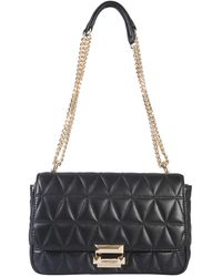 MICHAEL Michael Kors Large Messenger Sloan Quilted Leather Bag - Black