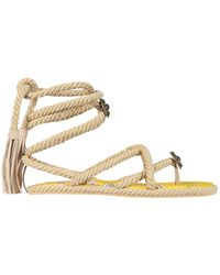 Etro Low Thong Sandals With Paisley Bottom - Yellow
