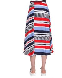 "Tommy Hilfiger - Gonna Midi ""kaylee"" Multi Righe - Lyst"