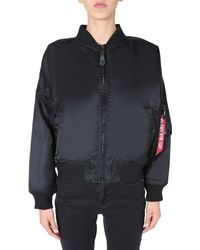 """Alpha Industries """"ma-1 0s"""" Nylon Reversible Bomber With Fur - Black"""