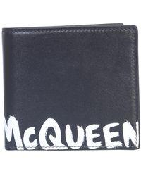 Alexander McQueen PORTAFOGLIO BIFOLD IN PELLE CON LOGO - Nero