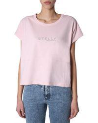Stella McCartney Crew Neck Cotton T-shirt In Print And Logo - Pink