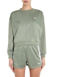 "Fila ""tallis"" Round Neck Sweatshirt With Logo Strip - Green"