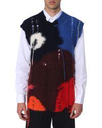 Alexander McQueen Colourful Shredded Sleeveless Sweater - Blue
