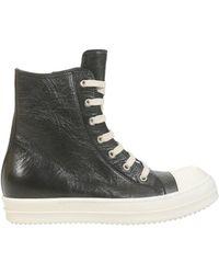 Rick Owens - Sneaker In Pelle Destroyed Con Cap Toe In Gomma - Lyst