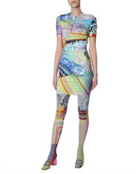 Versace Pantyhose Tulle With Technicolor Baroque Print - Multicolour