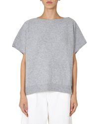 Fabiana Filippi Short Sleeve Mixed Wool And Lurex Jumper With Zip - Grey