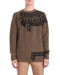 N°21 Round Collar Wool Jacquard Jumper - Brown