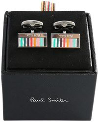 Paul Smith Metal Cufflinks With Multi-line Detail - Metallic