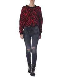 Unravel Project Oversize Fit Shirt With Zebra Print - Red