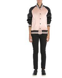 """Saint Laurent Varsity """"teddy"""" Satin Jacket - Pink"""