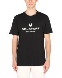 Belstaff Crew Neck Cotton Jersey T-shirt With Logo Print - Black