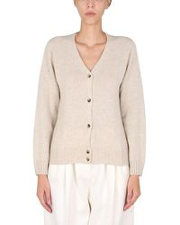 Margaret Howell Cashmere Cardigan With Mother Of Pearl Buttons - Natural