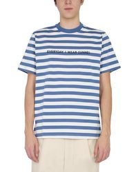 Sunnei Crew Neck Cotton Embroidered T-shirt With Stripe Pattern - Blue