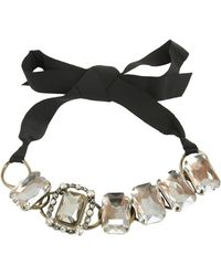 Lanvin Choker Necklace With Jewels And Gros Grain Bow - Black