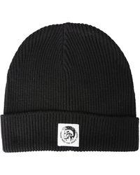 DIESEL Wool Knit Hat With Logo Patch - Black