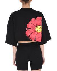 Gcds Cropped Crew Neck Cotton Sweatshirt With Logo Print - Black
