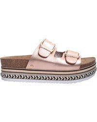 Sam Edelman - Oakley Slide Sandals In Metallic Leather - Lyst