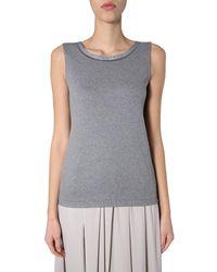 Fabiana Filippi Cotton Round Neck Tank Top With Jewel Detail - Grey