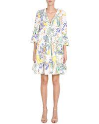 "LaDoubleJ Midi ""jennifer Jane"" Cotton Poplin Dress With Botanical Print - White"