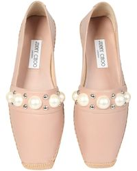Jimmy Choo Dru Leather Espadrillas With Studs And Pearls - Pink