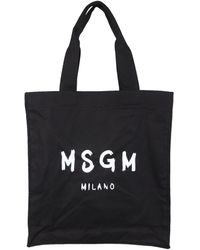 MSGM Canvas Tote Bag With Brushed Logo - Black
