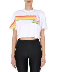 Gcds T-SHIRT CROPPED IN COTONE CON STAMPA RAINBOW CARE BEAR - Bianco