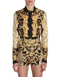 Versace - Silk Shirt With Baroque Print - Lyst
