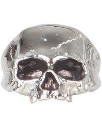Northskull Disfigured Skull Metal Ring - Grey