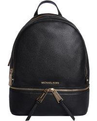 MICHAEL Michael Kors Medium Rhea Zip Backpack In Bottled Leather - Black