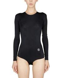 MM6 by Maison Martin Margiela Long Sleeve Technical Fabric Bodycon With Logo - Black