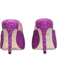 Giannico Daphne Glitter Pump Mules - Purple