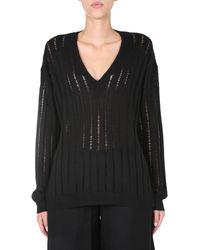 Uma Wang V-neck Perforated Cashmere Jumper - Black