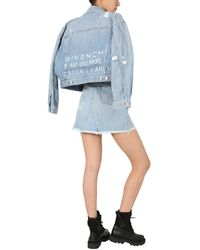 Givenchy GIACCA CROPPED IN DENIM CON STAMPA LOGO - Blu