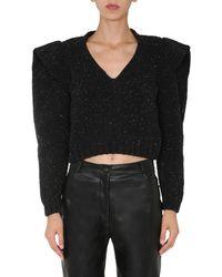 Philosophy Di Lorenzo Serafini V-neck Wool Sweater With Wide Shoulders - Black