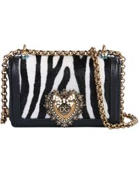 "Dolce & Gabbana Mini ""devotion"" Animal Print Bag - Black"