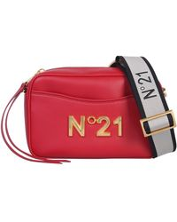 N°21 Leather Shoulder Bag In Metal Logo - Red
