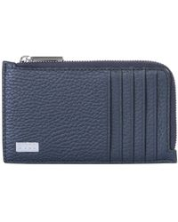BOSS by Hugo Boss Hammered Leather Wallet With Zip And Logo - Blue