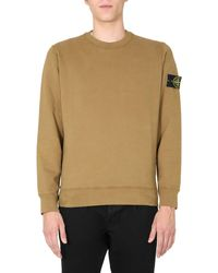 Stone Island Crew Neck Cotton Sweatshirt With Patch - Brown