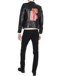 Saint Laurent - Biker Jacket With 1971 Print In Worn-look Vintage Black Leather - Lyst