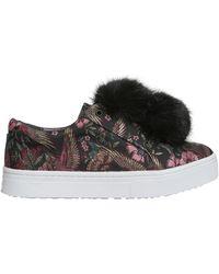 Sam Edelman Leya Faux-fur Pom Pom Sneakers - Black
